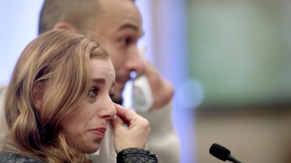 With her boyfriend by her side, Nicole Walker speaks at Wednesday