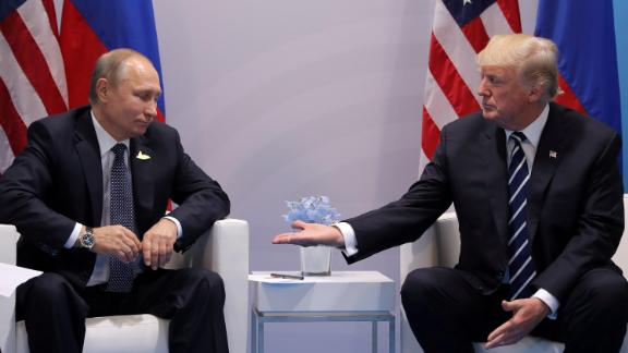 US President Donald Trump, right, meeting with Russian President Vladimir Putin at the G20 summit in Hamburg, Germany on  July 7, 2017.