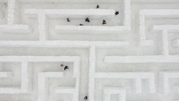 Zakopane, Poland: This drone photograph depicts visitors exploring the biggest snow maze in the world in Zakopane, Poland.