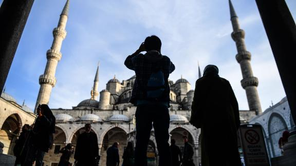 Blue Mosque, Istanbul, Turkey: A tourist takes a snapshot of Istanbul