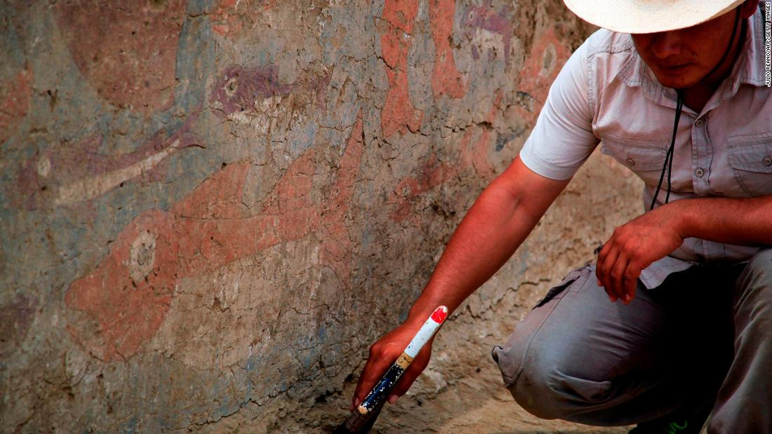 A team of Peruvian archaeologists recently unearthed ruins belonging to the Moche civilization. The team discovered two rooms that would have been used by the Moche elite. The walls of the rooms were brightly painted with marine scenes.