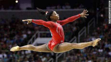 Simone Biles competes in the floor exercise during Day 2 of the 2016 U.S. Women's Gymnastics Olympic Trials at SAP Center on July 10, 2016 in San Jose, California.