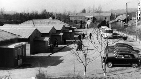 The iconic blue huts in Panmunjom, on the DMZ between North and South Korea, seen in 1965.
