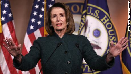 WASHINGTON, DC - JANUARY 18:  House Minority Leader Nancy Pelosi (D-CA) answers questions on the possibility of a government shutdown at the U.S. Capitol on January 18, 2018 in Washington, DC. Pelosi said the burden of passing legislation to continue funding the U.S. goverment rests with Republicans since they have majorities in the House and Senate and currently occupy the White House as well.  (Photo by Win McNamee/Getty Images)