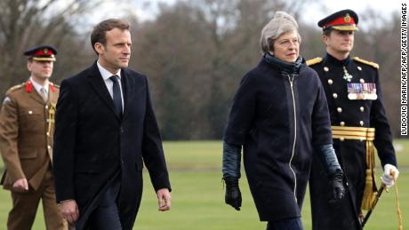 French President Macron and British Prime Minister May arrive at Sandhurst.