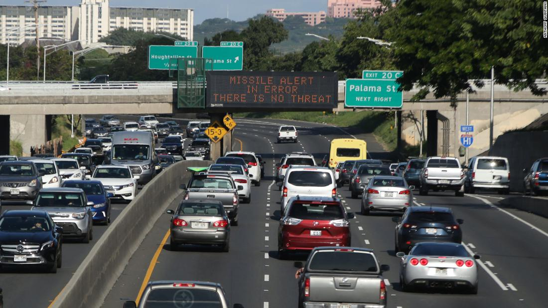 "An electronic sign on a Honolulu expressway tells motorists, ""Missile alert in error. There is no threat,"" on Saturday, January 13, after an emergency alert accidentally went out to radio, TV and cell phones in Hawaii. State leaders and emergency officials blamed the false alarm about a ballistic missile threat on <a href=""http://www.cnn.com/2018/01/13/politics/hawaii-missile-threat-false-alarm/index.html"" target=""_blank"">an employee who ""pushed the wrong button.""</a>"
