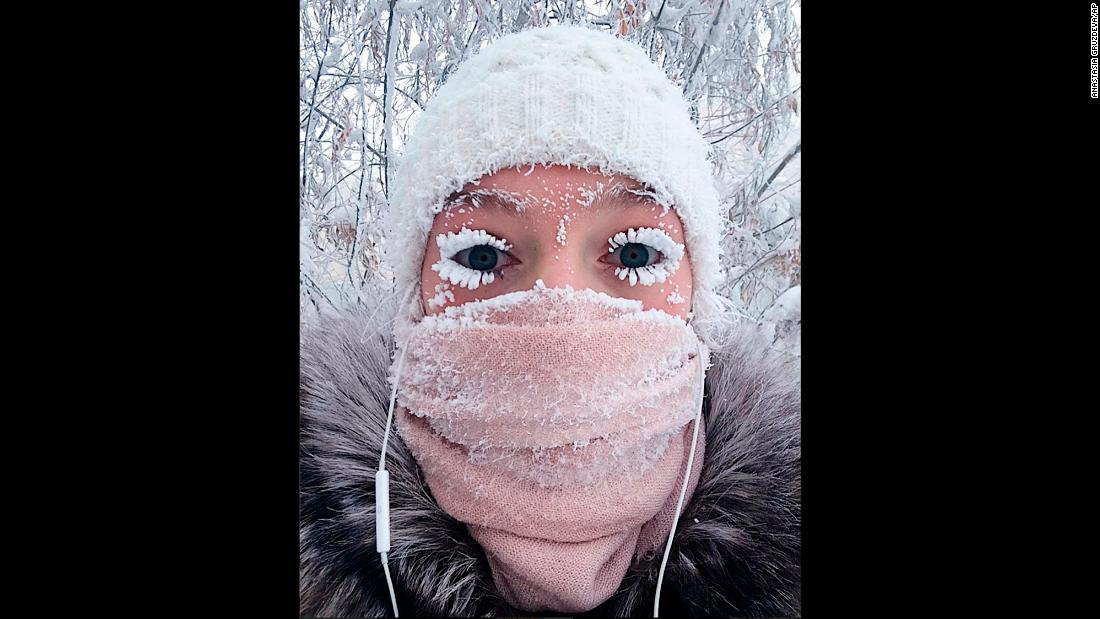 "Anastasia Gruzdeva takes a selfie on Saturday, January 13, in Yakutsk, Russia, as temperatures dropped to <a href=""http://www.cnn.com/2018/01/17/weather/siberia-cold-weather/index.html"" target=""_blank"">near-record lows</a>, even prompting eyelashes to freeze. It was minus 67 degrees Celsius (minus 88.6 F) in some areas of the Siberian region of Yakutia."