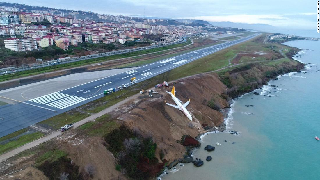"A Pegasus Airlines Boeing 737-800 passenger plane sits on a cliff after <a href=""http://www.cnn.com/videos/world/2018/01/14/turkey-plane-skids-off-runway-newday.cnn"" target=""_blank"">going off a runway at Trabzon Airport</a> in Turkey on Sunday, January 14. There were no injuries, and all passengers were evacuated."