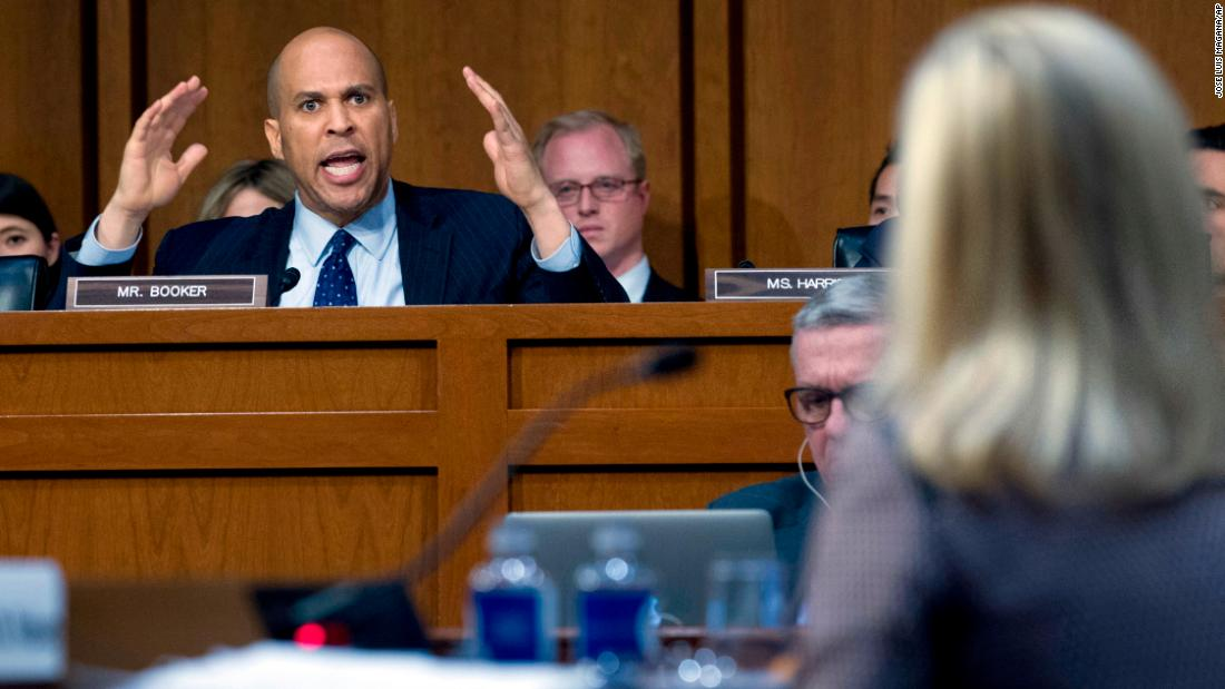 "US Sen. Cory Booker <a href=""http://www.cnn.com/2018/01/16/politics/cory-booker-kirstjen-nielsen/index.html"" target=""_blank"">questions Homeland Security Secretary Kirstjen Nielsen</a> during a Senate Judiciary Committee hearing on Tuesday, January 16, in Washington. The hearing grew testy as Booker slammed Nielsen after she denied hearing President Donald Trump make vulgar remarks about African nations in a White House meeting on immigration."