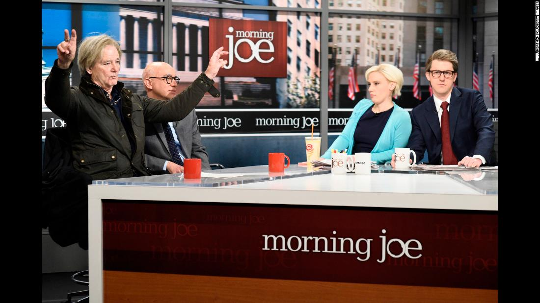 "Bill Murray as Steve Bannon, Fred Armisen as Michael Wolff, Kate McKinnon as Mika Brzezinski and Alex Moffat as Joe Scarborough perform in a sendup of ""Morning Joe"" in the opening of ""Saturday NIght Live"" on Saturday, January 13."