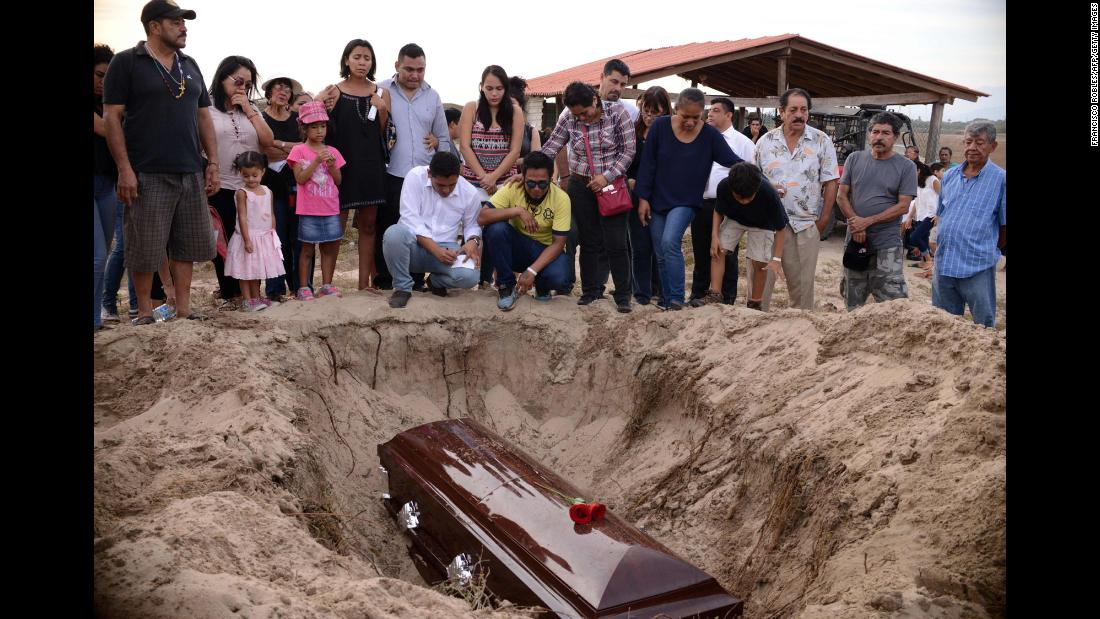 "Relatives of slain Mexican journalist Carlos Dominguez Rodriguez attend his funeral in Tecpán de Galeana, Mexico, on Wednesday, January 17. Mexico is the most dangerous country in the Western Hemisphere for journalists, <a href=""https://cpj.org/2018/01/mexican-journalist-killed-in-tamaulipas.php"" target=""_blank"">according to the Committee to Protect Journalists</a>."