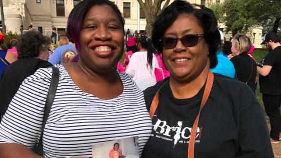 Talamieka Brice and her mother at the 2017 Women