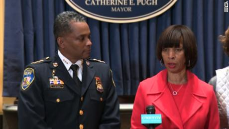 Baltimore Mayor Catherine Pugh introduces new Police Commissioner Darryl DeSousa on Friday.