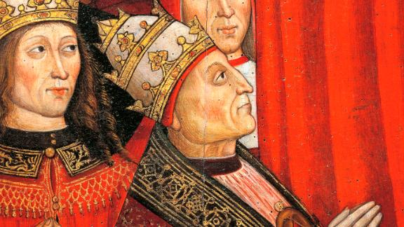 UNSPECIFIED - DECEMBER 16: Pope Alexander VI (1431-1504) and those who wielded power in the empire and the papacy, detail of The Madonna of the Recommended, 1500, by Cola da Orte and Giovanni Antonio da Roma, tempera on panel. Orte, Museo Diocesano D'Arte Sacra (Diocesan Art Museum) (Photo by DeAgostini/Getty Images)