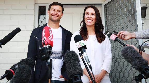 Prime Minister Jacinda Ardern and her partner Clarke Gayford speak to the media January 19 in Auckland.