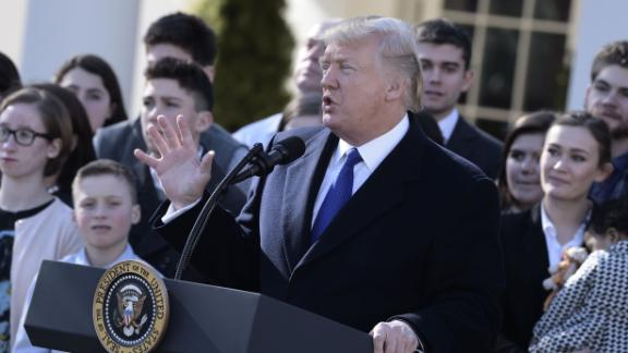 "US President Donald Trump speaks live via video link to the annual ""March for Life"" participants and anti-abortion leaders on January 19, 2018 from the White House in Washington,DC.  The 45th edition of the rally, which describes itself as ""the world"