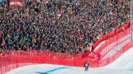 Italy's Dominik Paris runs past spectators in the downhill race at the FIS Alpine Ski World Cup in Kitzbuehel, Austria, on January 21, 2017.  Italy's Dominik Paris won ahead of France's Valentin Giraud Moine and French teammate Johan Clarey, third.   / AFP / APA AND EXPA / Johann GRODER / Austria OUT        (Photo credit should read JOHANN GRODER/AFP/Getty Images)