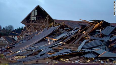 An agricultural building  collapsed during a heavy storm in Meimbressen, central Germany, on Thursday.