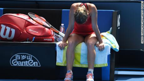 Simona Halep was understandably drained after her marathon win.