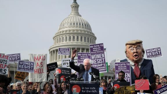 WASHINGTON, DC - NOVEMBER 01:  Sen. Bernie Sanders (I-VT) addresses a rally against the Republican tax plan outside the U.S. Capitol November 1, 2017 in Washington, DC. The rally was organized by Patriotic Millionaires, left-wing group of weathy people who support political representation for all citizens and believe that the rich should shoulder a greater burden of taxes.  (Photo by Chip Somodevilla/Getty Images)