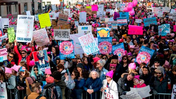 People line up on Central Park West as they wait for the start of the Women's March in New York City. (Craig Ruttle/AP)
