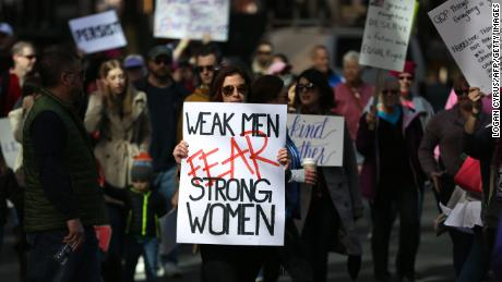 A protester takes part in a women's rights rally in Charlotte, North Carolina, on January 20, 2018.