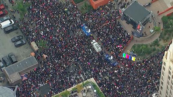 Aerial view of crowds at the Los Angeles Women