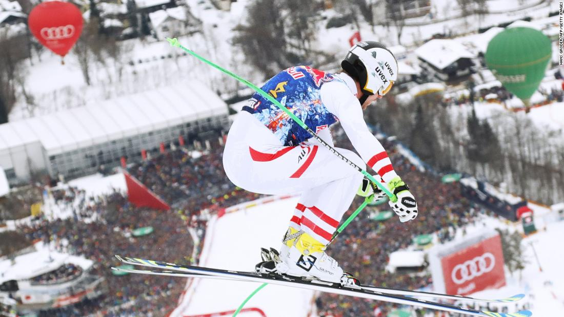 <strong>Party town: </strong>A crowd of about 45,000 turned out to watch the famous race, which plunges down the Hahnenkamm mountain to finish in the town.