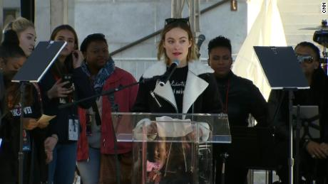 Olivia Wilde speaks at the Los Angeles Women's March on January 20.