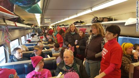 They rode a 'peace train' to the Women's March and found community