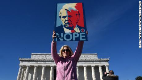 A woman attends the demonstration in Washington.