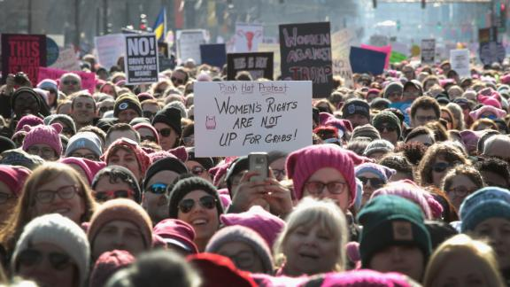 CHICAGO, IL - JANUARY 20: People rally downtown for the Second Annual Womens March on January 20, 2018 in Chicago, Illinois. The march was held to encourage women to fight for womens rights and social justice through political engagement. (Photo by Scott Olson/Getty Images)