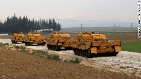 Turkish tanks are seen moving to Hatay, southern Turkey, a province bordering Syria.