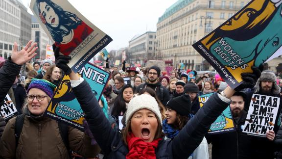 Activists participate in a demonstration for women's rights on January 21, 2018 in Berlin, Germany. The 2018 Women's March is a planned rally and follow-up to the 2017 Women's March on Washington.