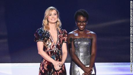Brie Larson and Lupita Nyong'o onstage during the 24th Annual Screen Actors Guild Awards.