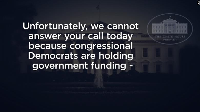 WH voice mail blames Dems for shutdown