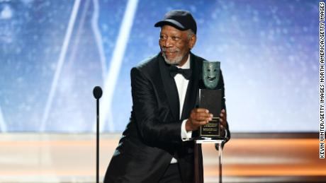 Honoree Morgan Freeman accepts the Life Achievement Award onstage.