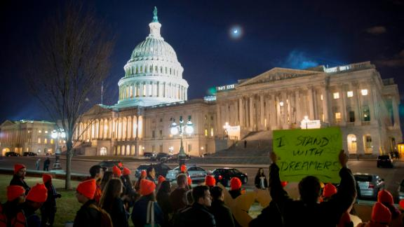 WASHINGTON, DC - JANUARY 21:  Pro DACA supporters protest outside the  Capitol Hill on January 21, 2018 in Washington, DC. The U.S. government is shut down after the Senate failed to pass a resolution to temporarily fund the government through February 16 on January 21, 2018 in Washington, DC.  (Photo by Tasos Katopodis/Getty Images)