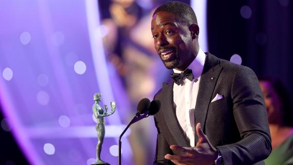 LOS ANGELES, CA - JANUARY 21:  Actor Sterling K. Brown accepts the award for
