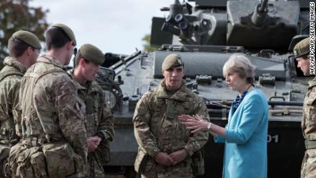 British Prime Minister Theresa May during a visit to the 1st Battalion The Mercian Regiment in 2016.