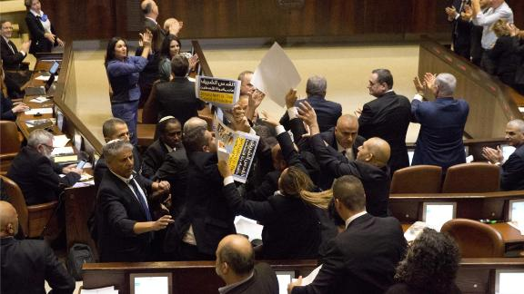Israel's Arab parliamentary bloc and Knesset members protest Pence's speech on Monday.