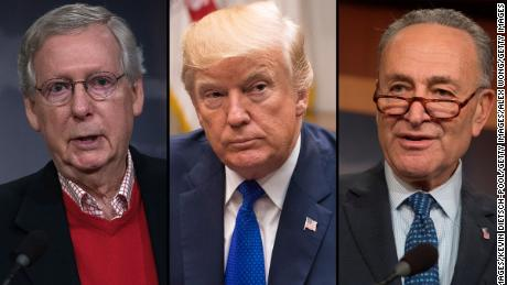 U.S. Senate Majority Leader Sen. Mitch McConnell (R-KY), President Donald Trump  and US Senate Minority Leader Chuck Schumer, Democrat of New York.