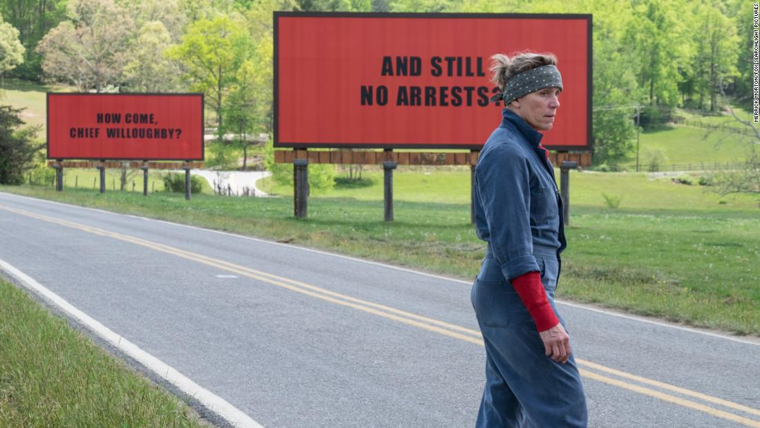 'Three Billboards Outside Ebbing, Missouri' received seven nominations, including two for best supporting actor (Woody Harrelson and Sam Rockwell). Frances McDormand, who won a Golden Globe and SAG Award for her role as an avenging mother, was also nominated for best leading actress.