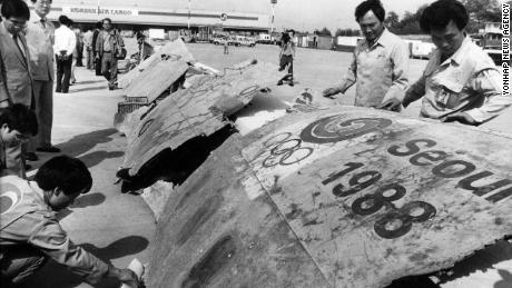 Wreckage arrives at Gimpo Airport in South Korea for investigation on May 22, 1990