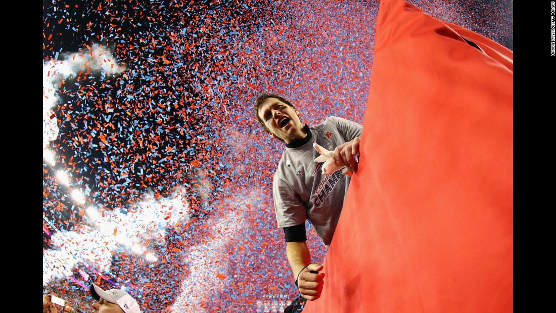 "Tom Brady of the New England Patriots celebrates after winning the AFC Championship Game against the Jacksonville Jaguars at Gillette Stadium on Sunday, January 21, in Foxborough, Massachusetts. Brady's four-yard touchdown pass to Danny Amendola in the fourth quarter <a href=""https://www.cnn.com/2018/01/22/sport/patriots-eagles-reach-super-bowl-lii/index.html"">proved to be the game-winning score, defeating the Jacksonville Jaguars 24-20.</a> This will be Brady's 8th appearance at the Superbowl, set for Sunday, February 4, in the US Bank Stadium in Minneapolis."