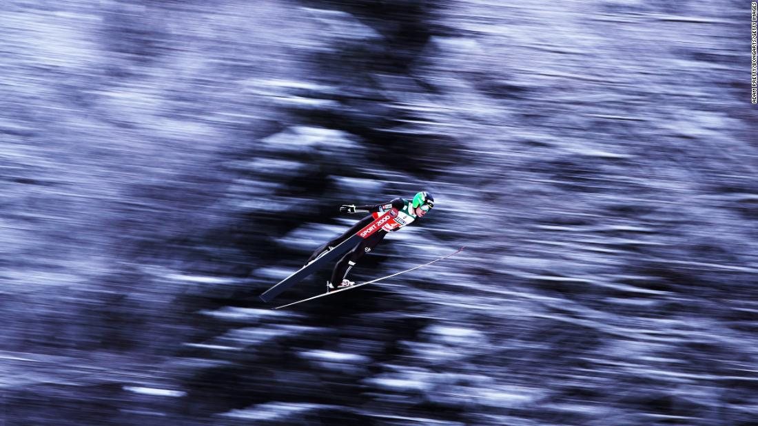 Andreas Wellinger soars through the air during his first competition jump of the Flying Hill Team competition of the Ski Flying World Championships on Sunday, January 21, in Oberstdorf, Germany. <br />