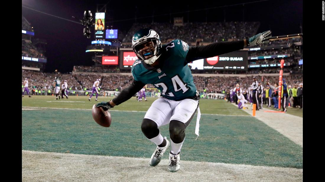Philadelphia Eagles' Corey Graham reacts after intercepting a pass during the second half of the NFL football NFC championship game against the Minnesota Vikings on Sunday, January 21, in Philadelphia. The Philadelphia Eagles will compete against the New England Patriots for the Lombardi Trophy in the Superbowl, Sunday, February 4.<br />
