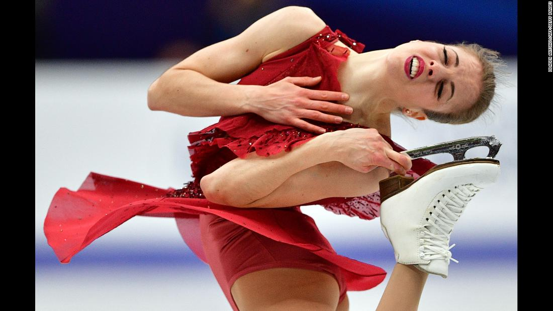 Italy's Carolina Kostner performs in the ladies' short program at the ISU European Figure Skating Championships on Thursday, January 18, in Moscow.<br />