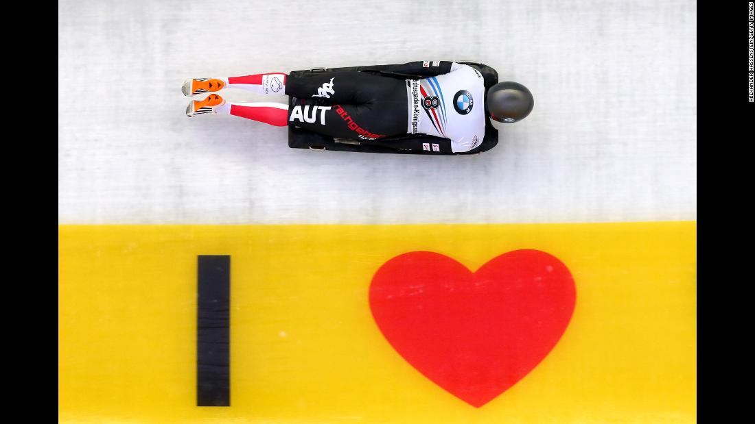 Janine Flock of Austria competes at Deutsche Post Eisarena Koenigssee during the BMW IBSF World Cup Skeleton on Friday, January 19, in Koenigssee, Germany. <br />