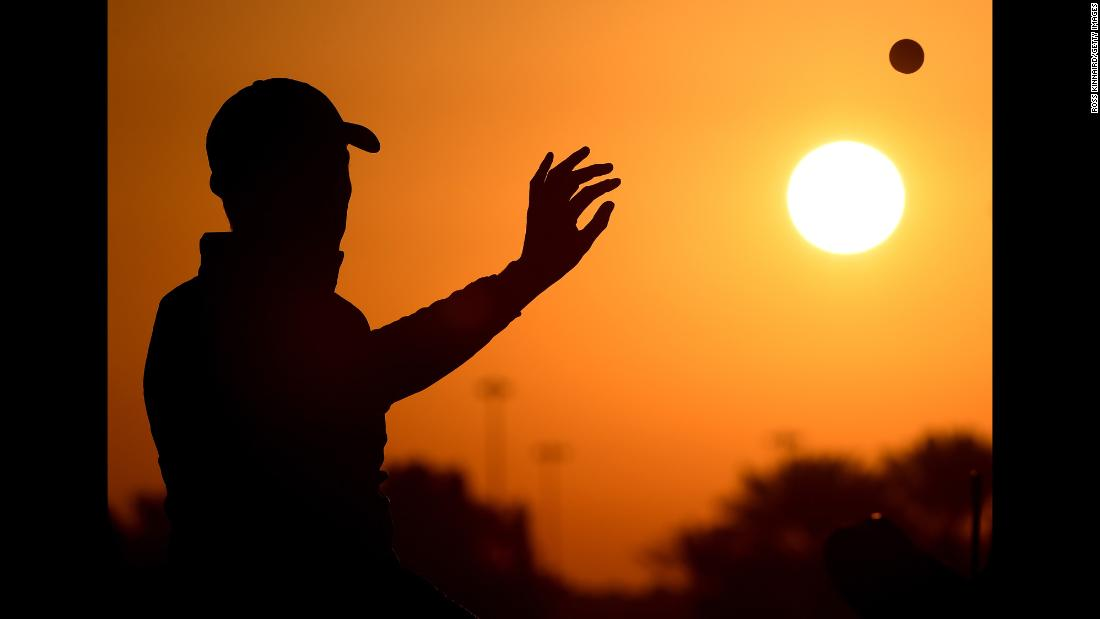 Matthew Fitzpatrick of England warms up on the range prior to round two of the Abu Dhabi HSBC Golf Championship at Abu Dhabi Golf Club on Friday, January 19, in Abu Dhabi, United Arab Emirates.